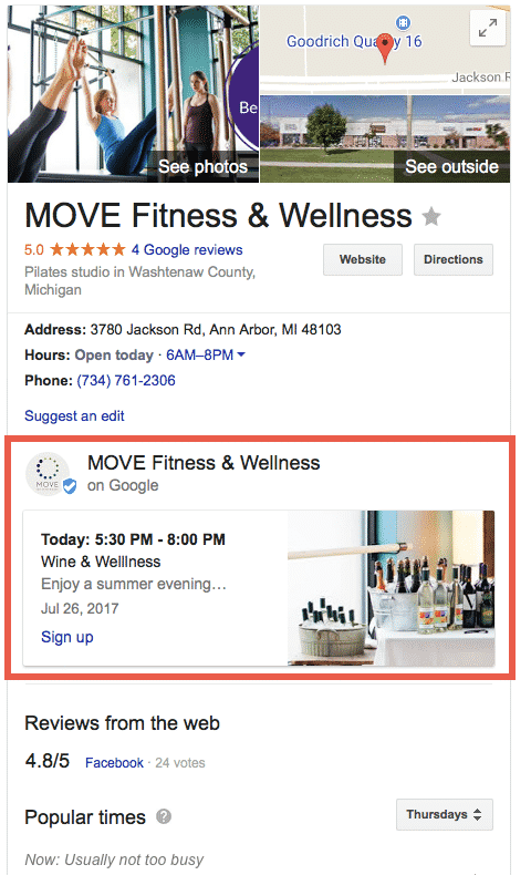 Google Knowledge Graph with Google Post highlighted.