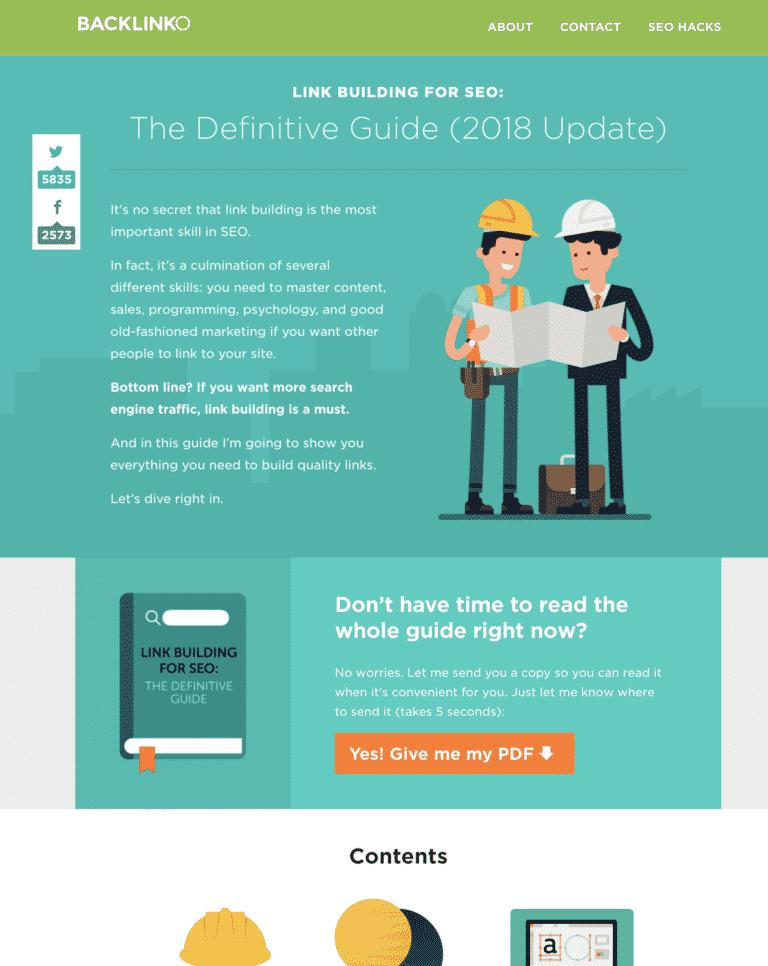 Backlinko's Definitive Guide to Link Building screenshot