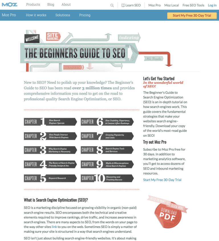 Moz's Beginner's Guide to SEO screenshot