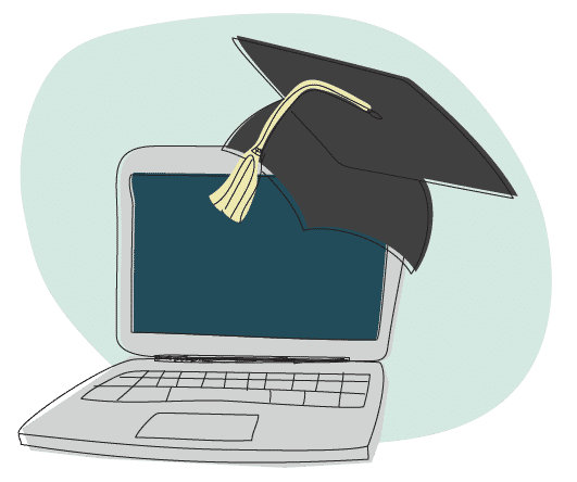 Laptop with a graduation cap