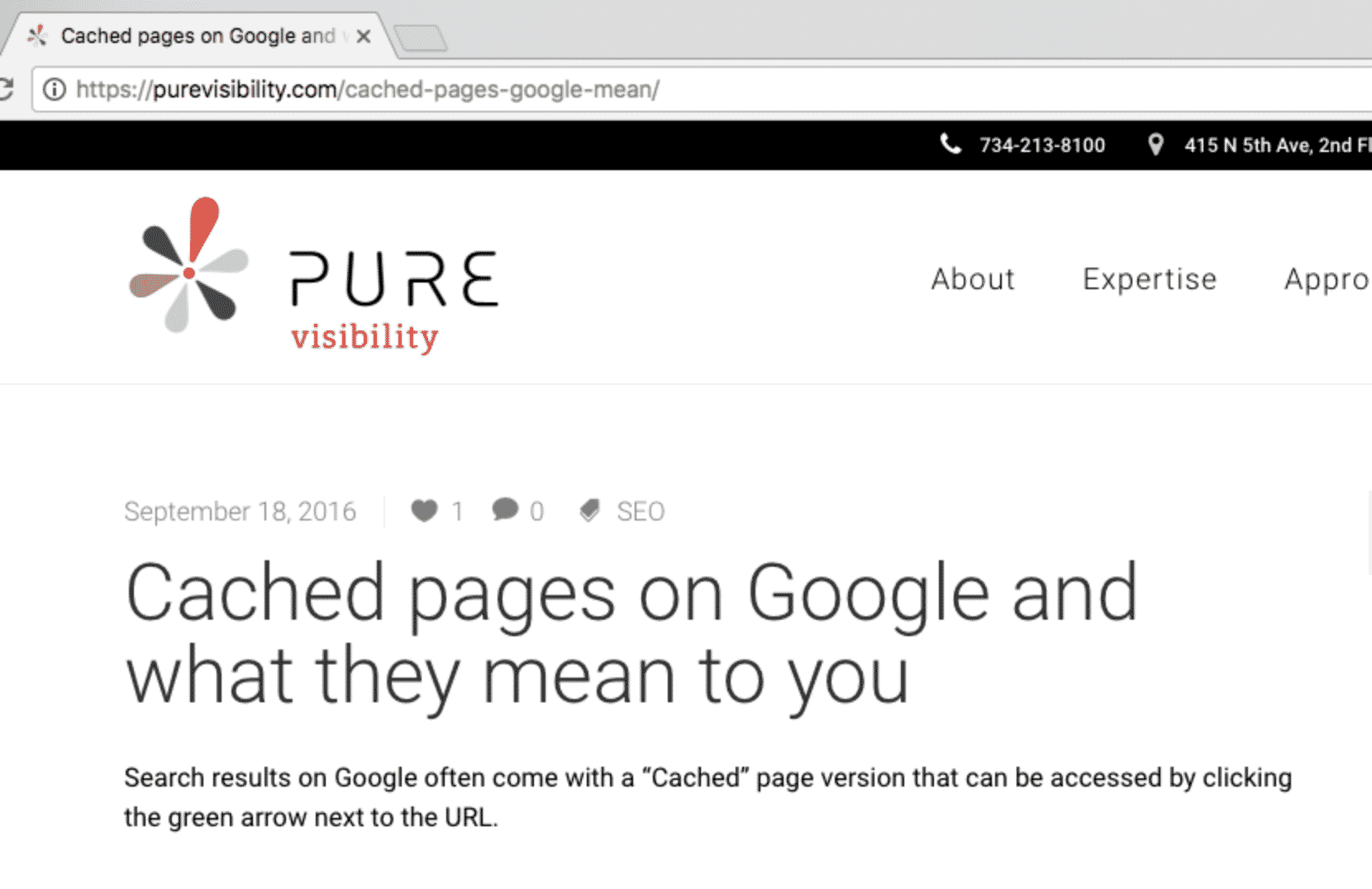 Blog post on cached pages