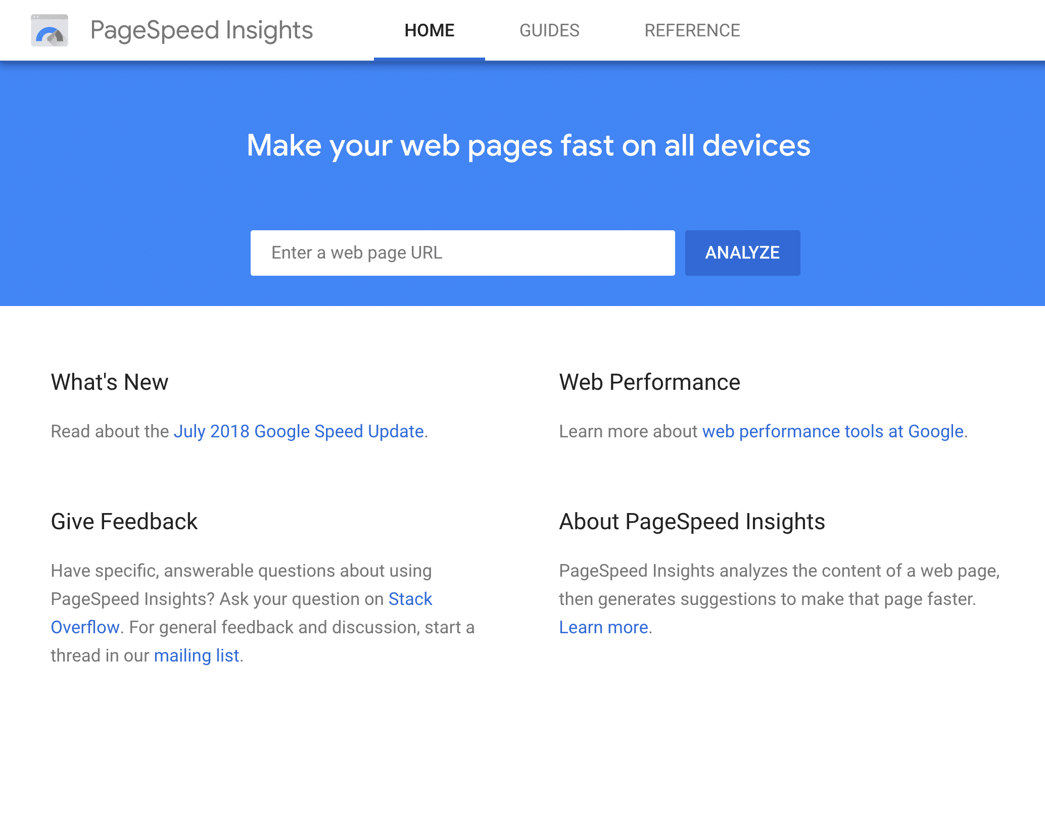 Google PageSpeed Insights tool - website speed evaluation