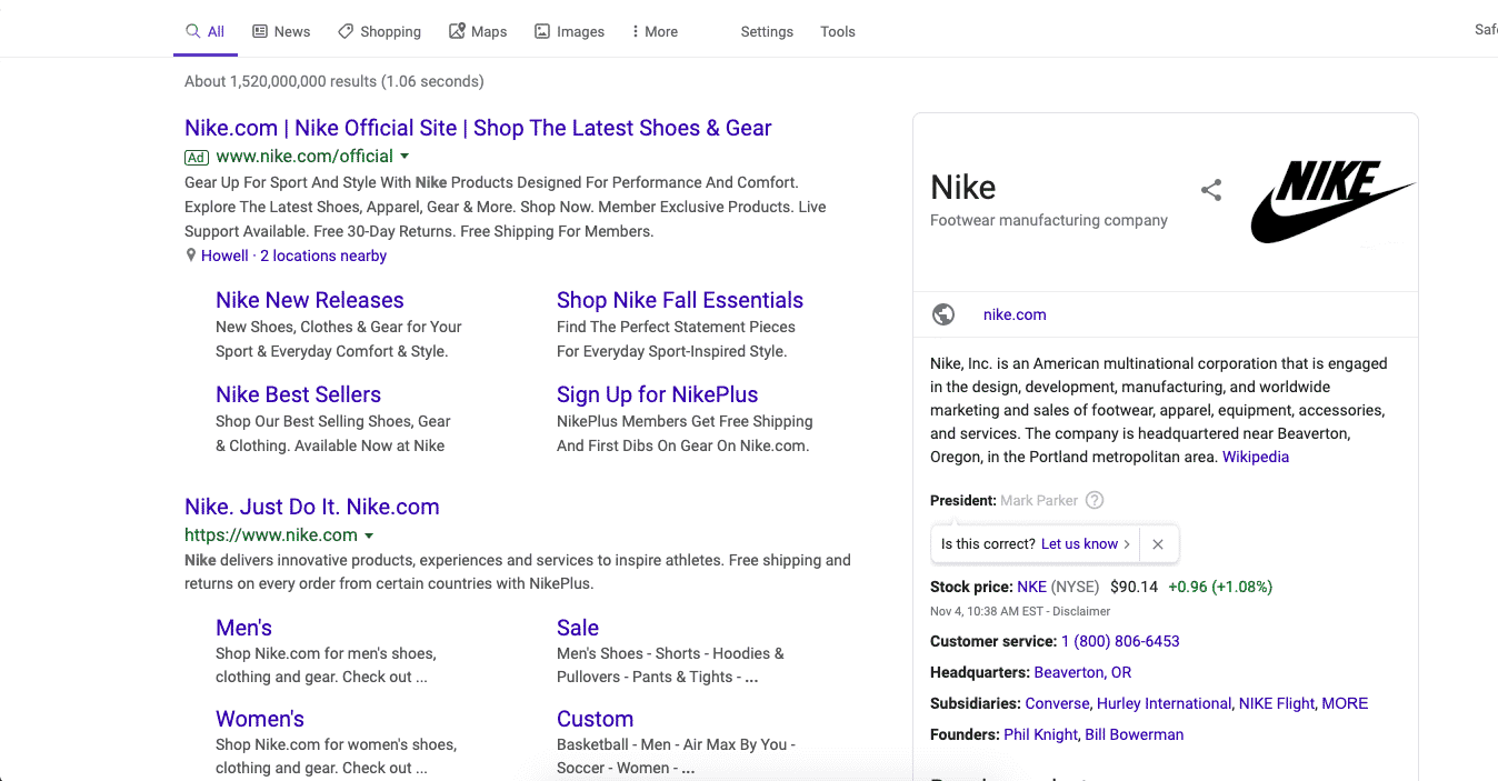 By bidding on its own brand, Nike has both top spots in search results.