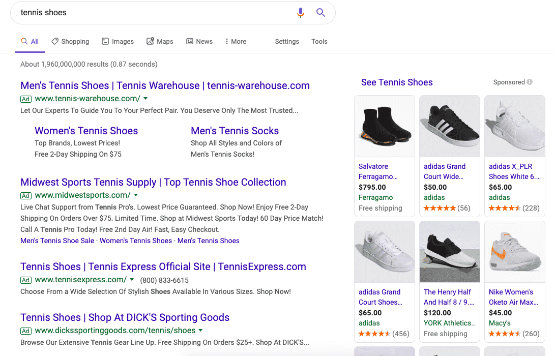 Paid search results for the non-branded term