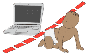 image of a laptop and a baby