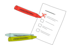 Checklist with crayons