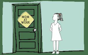 Child waiting outside door