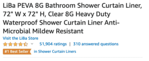 "LiBa PEVA 8G Bathroom Shower Curtain Liner, 72"" W x 72"" H, Clear 8G Heavy Duty Waterproof Shower Curtain Liner Anti-Microbial Mildew Resistant"