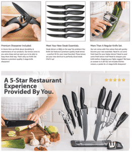 High quality product photos of kitchen knives